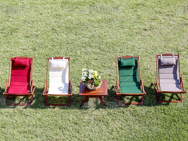 Sedia sdraio da giardino con schienale in tessuto - 4